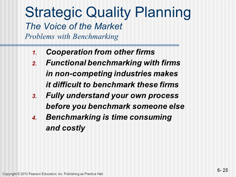 Strategic Quality Planning The Voice of the Market Problems with Benchmarking