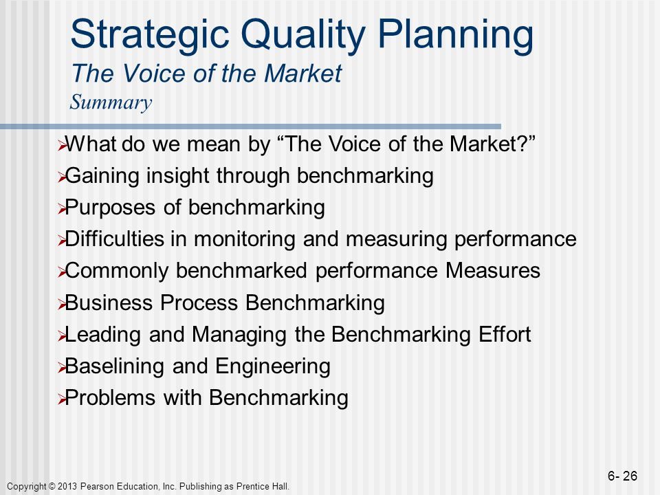 Strategic Quality Planning The Voice of the Market Summary