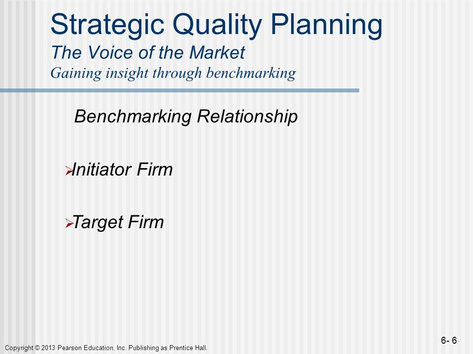 Strategic Quality Planning The Voice of the Market Gaining insight through benchmarking