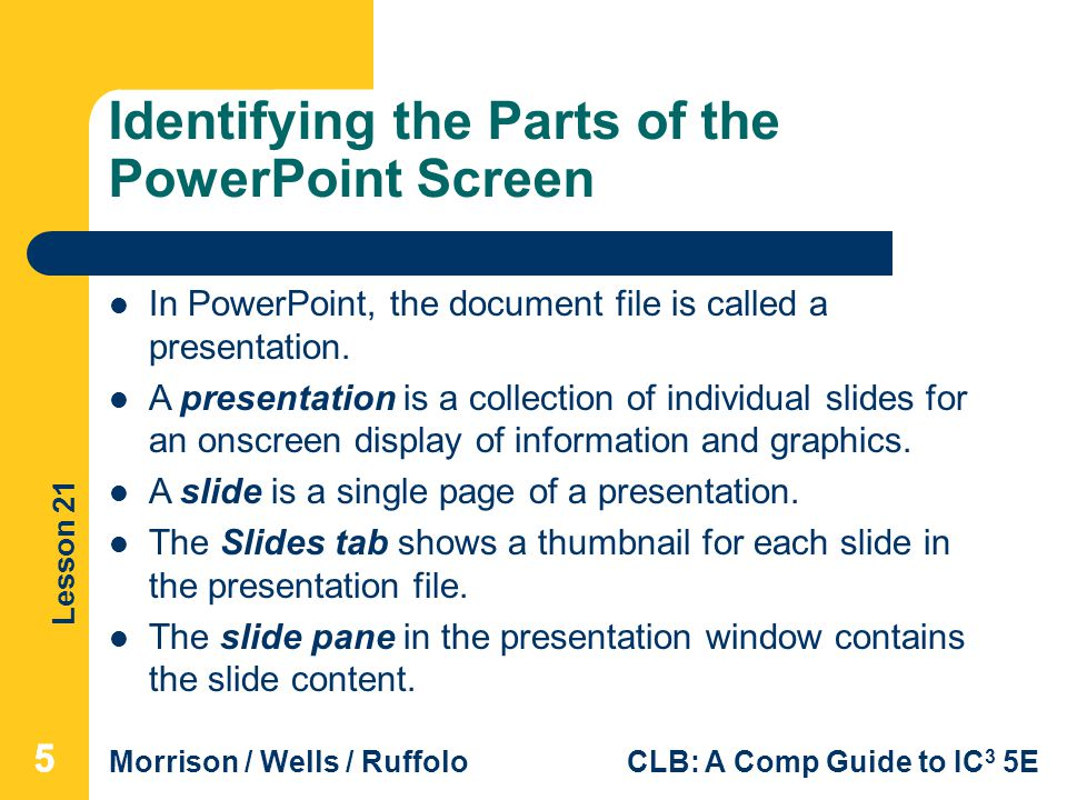 Identifying the Parts of the PowerPoint Screen