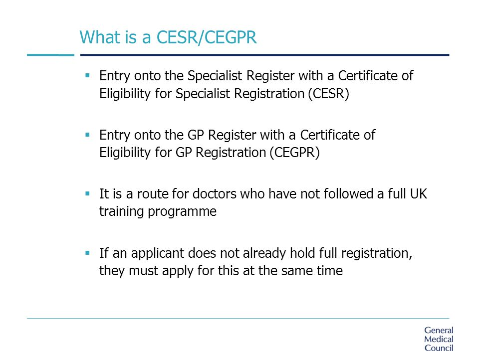 Applying For Specialist Registration Through The Cesr Route Ppt