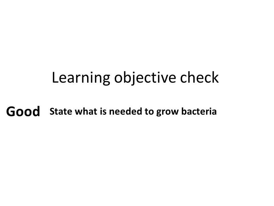Learning objective check