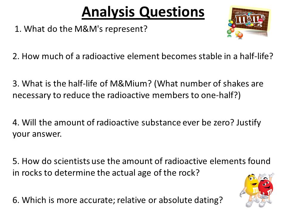 Radioactive dating lab with m&ms