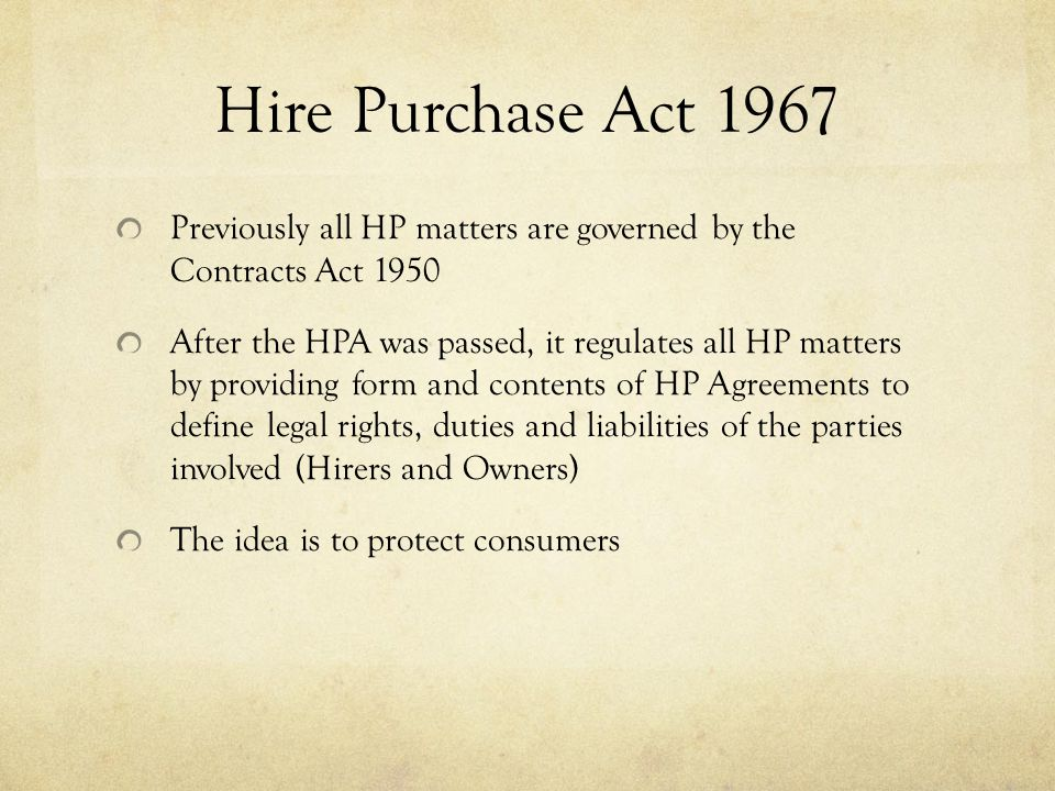 Commercial Law Hire Purchase Law Ppt Video Online Download
