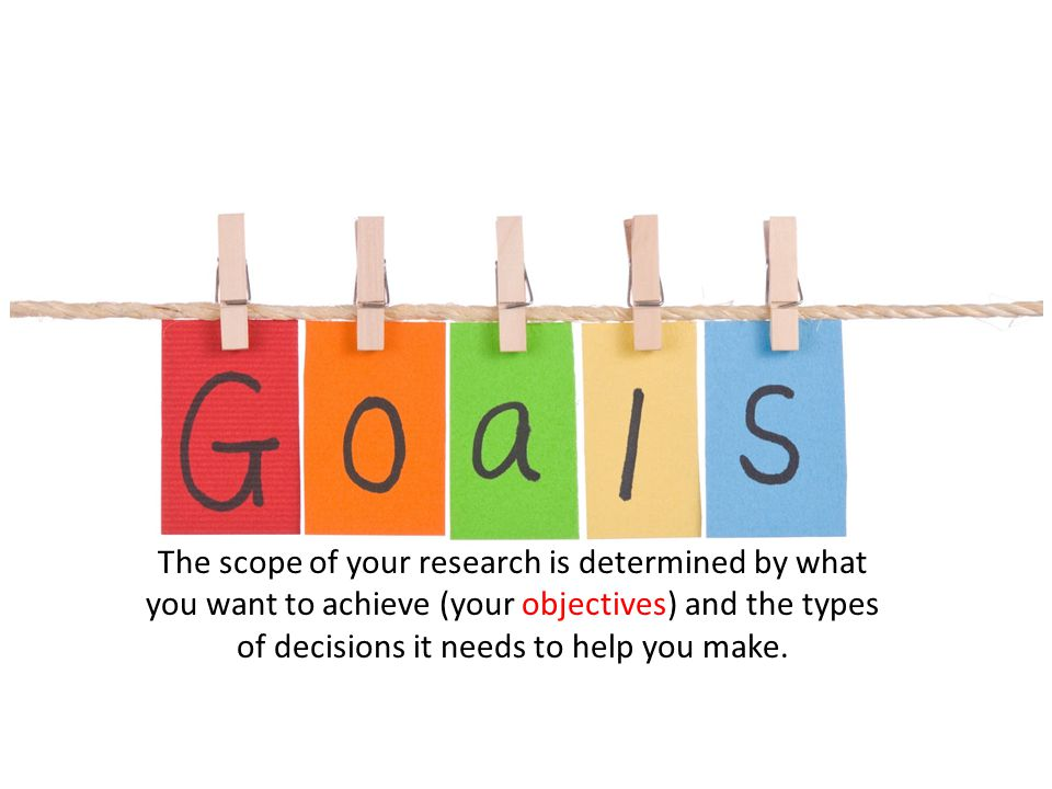 The scope of your research is determined by what you want to achieve (your objectives) and the types of decisions it needs to help you make.