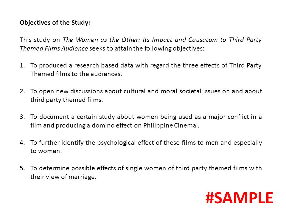 #SAMPLE Objectives of the Study: