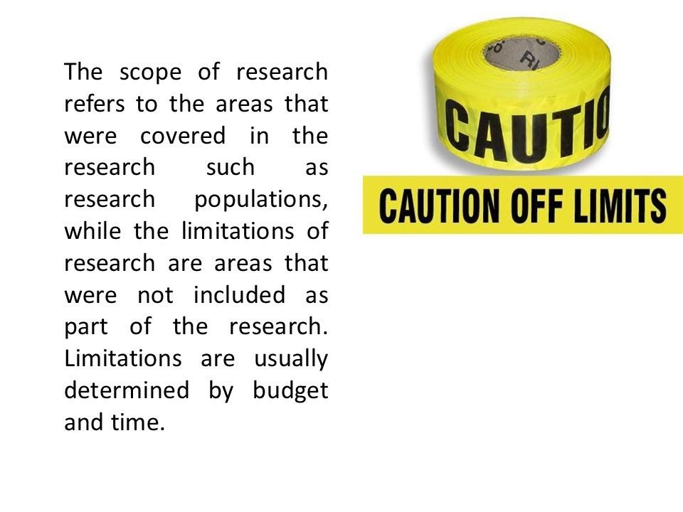 The scope of research refers to the areas that were covered in the research such as research populations, while the limitations of research are areas that were not included as part of the research.
