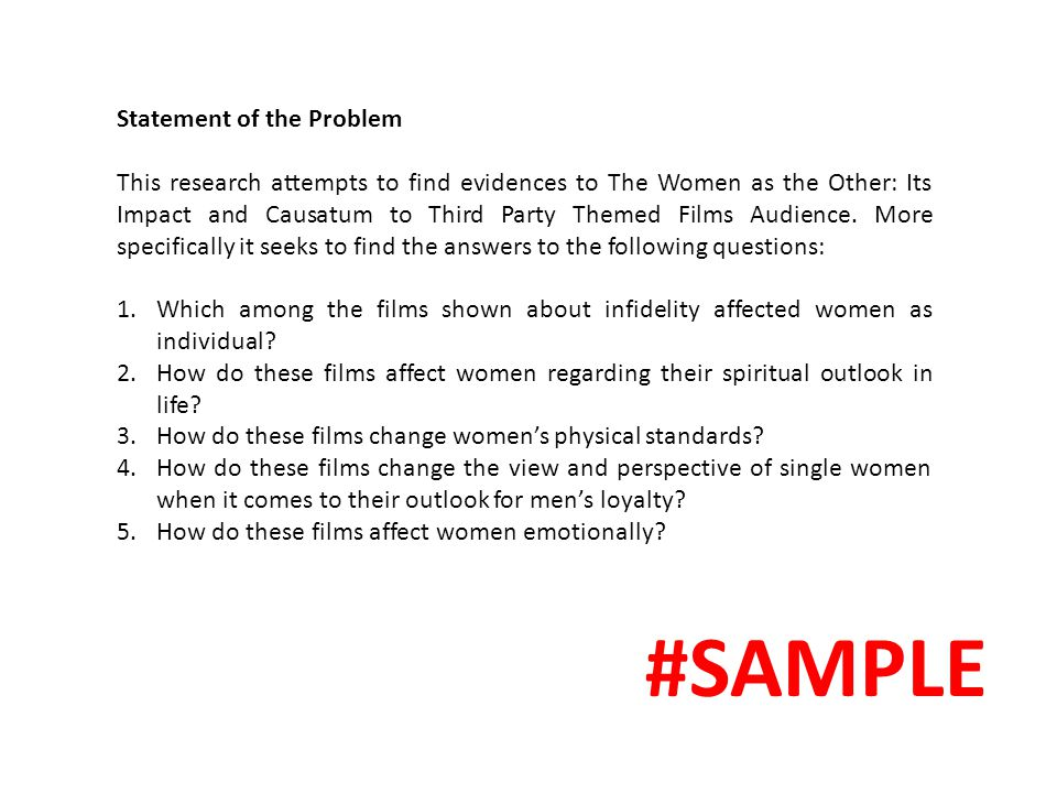 #SAMPLE Statement of the Problem