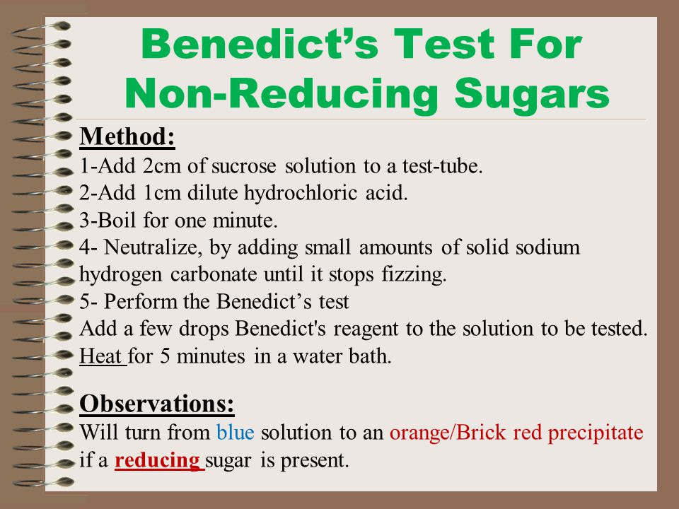 non reducing sugar test observation