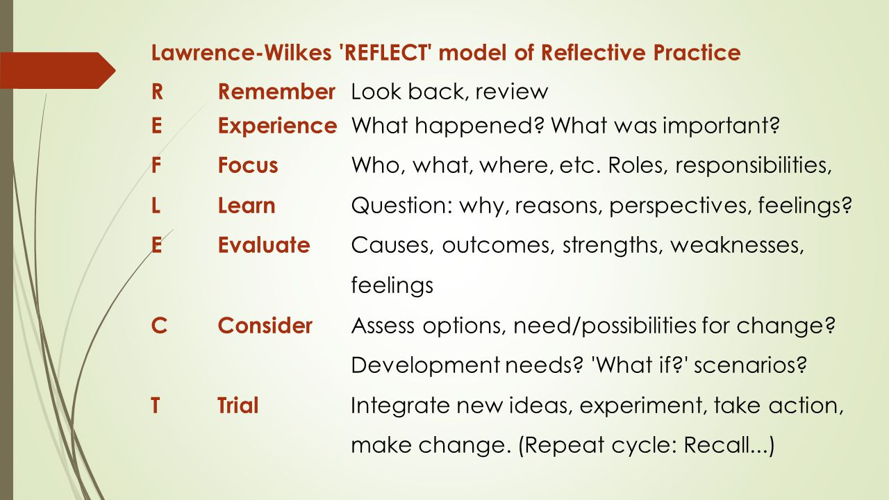 Lawrence-Wilkes REFLECT model of Reflective Practice