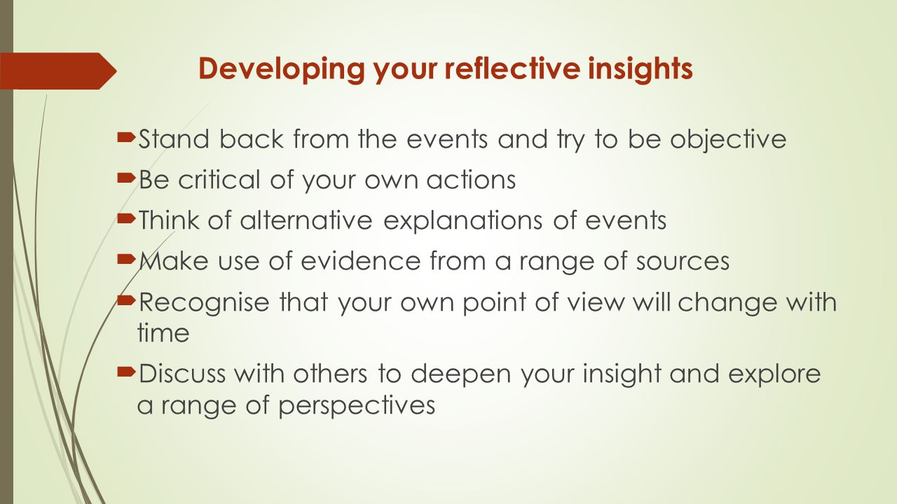 Developing your reflective insights