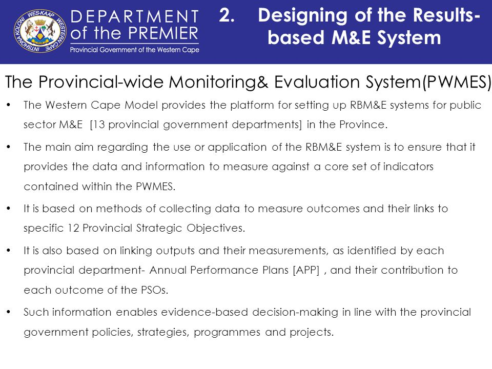 Building A Results Based Monitoring And Evaluation System For The Provincial Government Western Cape South Africa Ppt Video Online Download