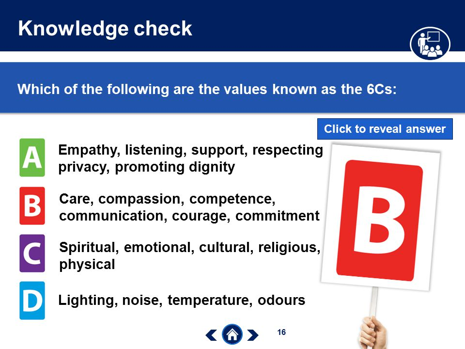 Knowledge check Which of the following are the values known as the 6Cs: Click to reveal answer.