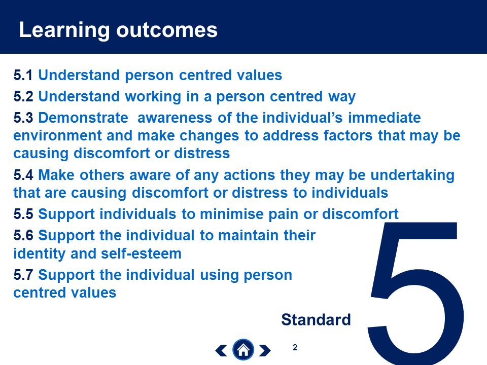 5 Learning outcomes Standard