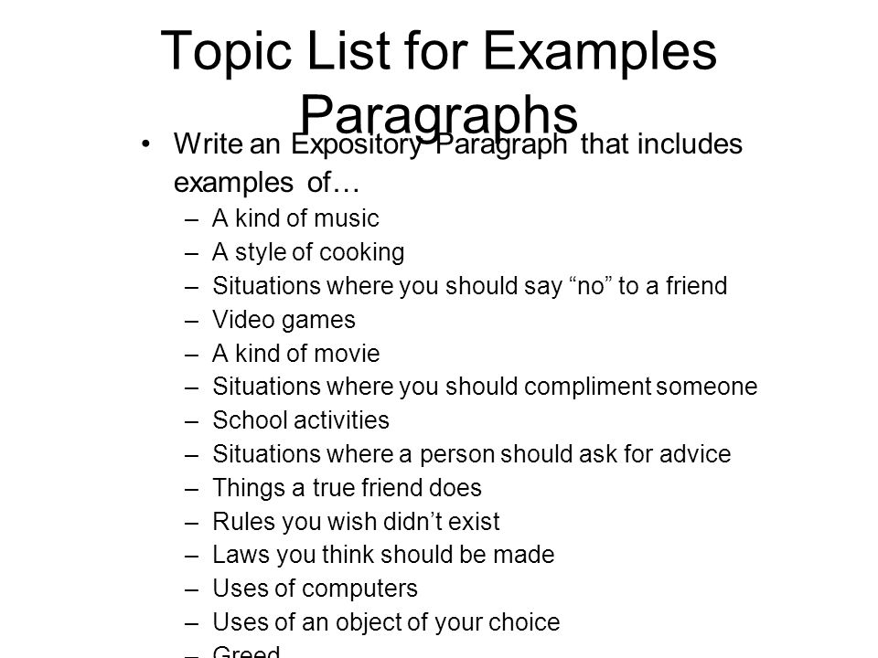 topic list for examples paragraphs