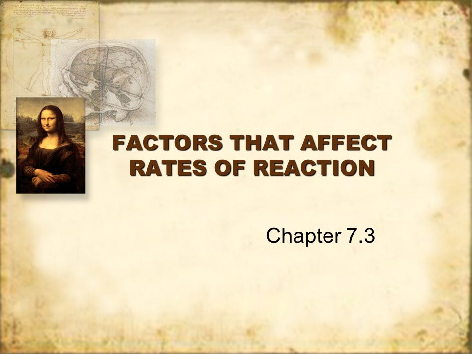 FACTORS THAT AFFECT RATES OF REACTION