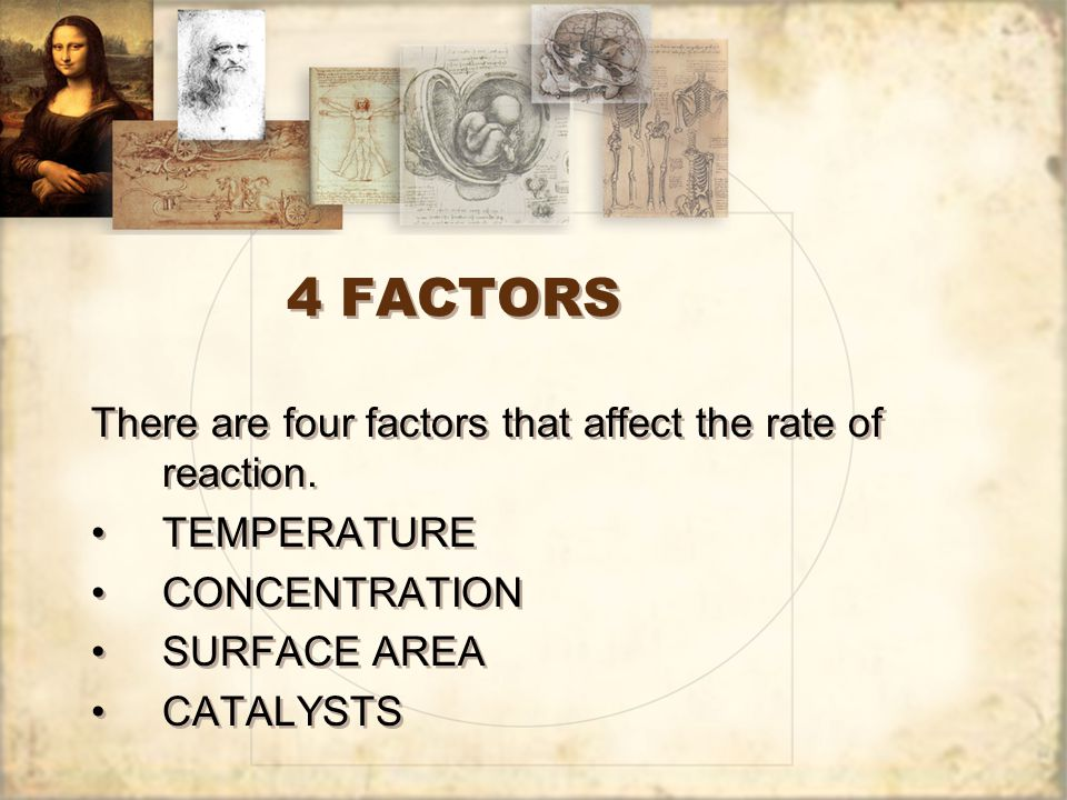 4 FACTORS There are four factors that affect the rate of reaction.