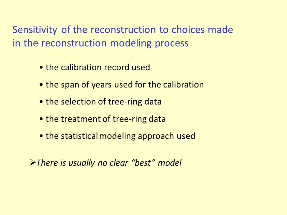 Sensitivity of the reconstruction to choices made in the reconstruction modeling process