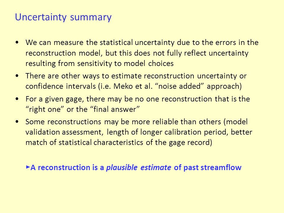 Uncertainty summary