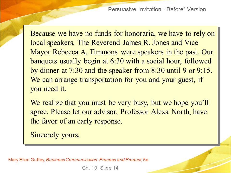 Persuasive Invitation: Before Version