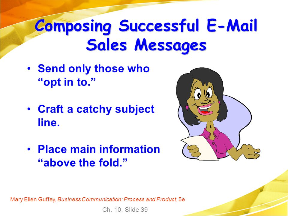 Composing Successful E-Mail Sales Messages