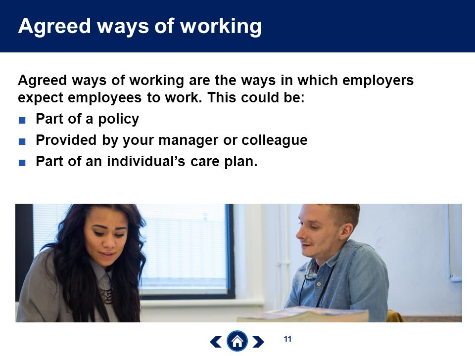 Agreed ways of working Agreed ways of working are the ways in which employers expect employees to work. This could be: