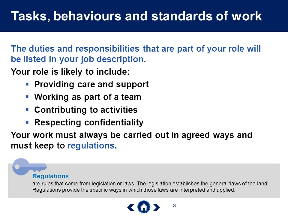 Tasks, behaviours and standards of work