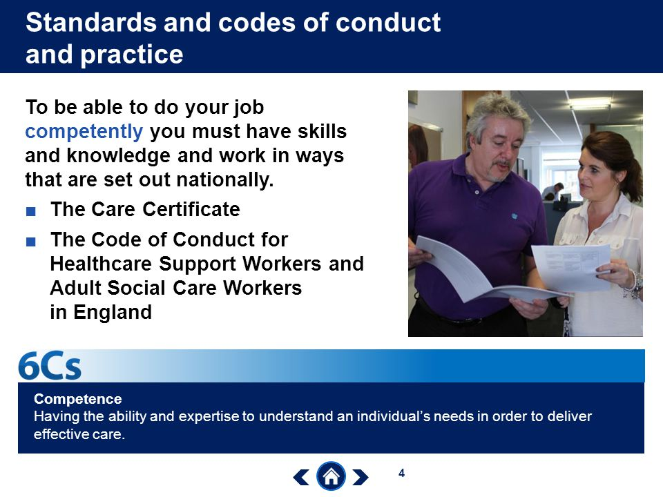 Standards and codes of conduct and practice