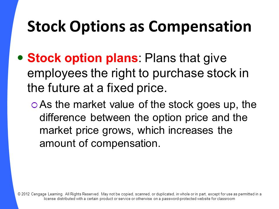Stock options as compensation