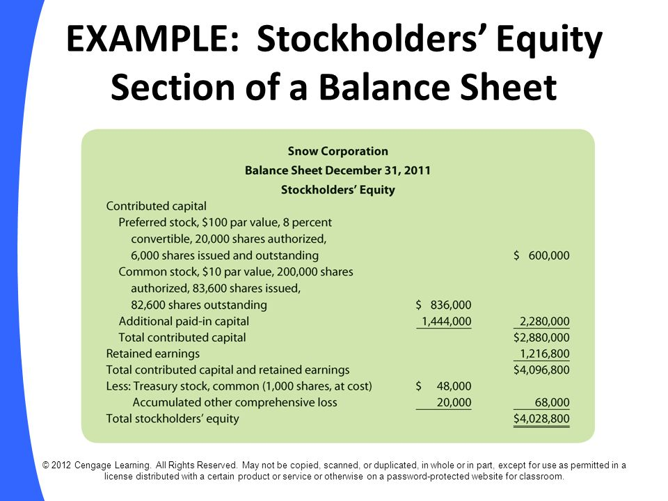 Stockholders equity section example