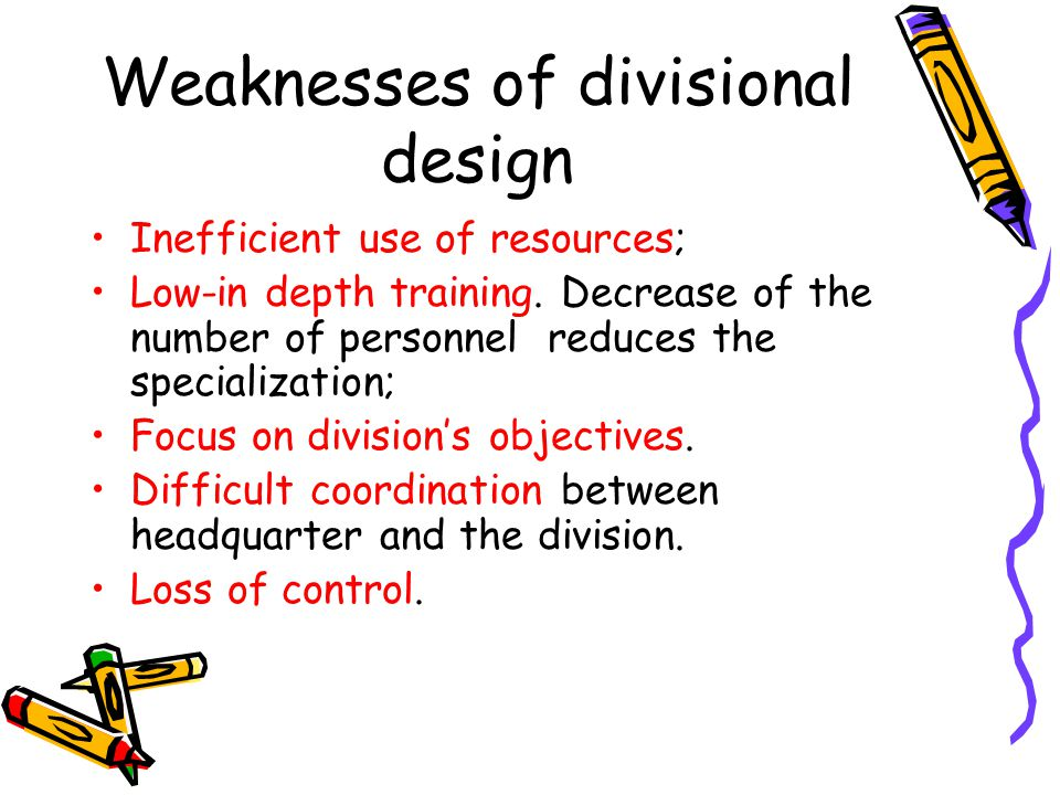 Weaknesses of divisional design