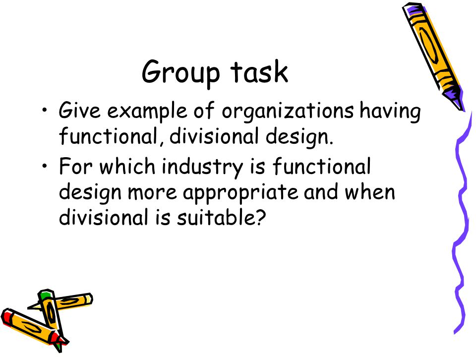 Group task Give example of organizations having functional, divisional design.