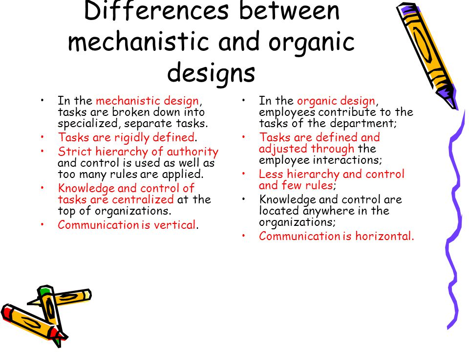 Differences between mechanistic and organic designs