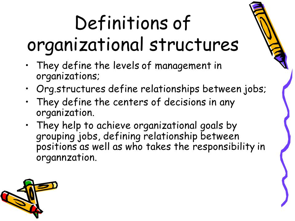 Definitions of organizational structures