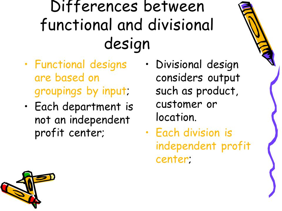 Differences between functional and divisional design