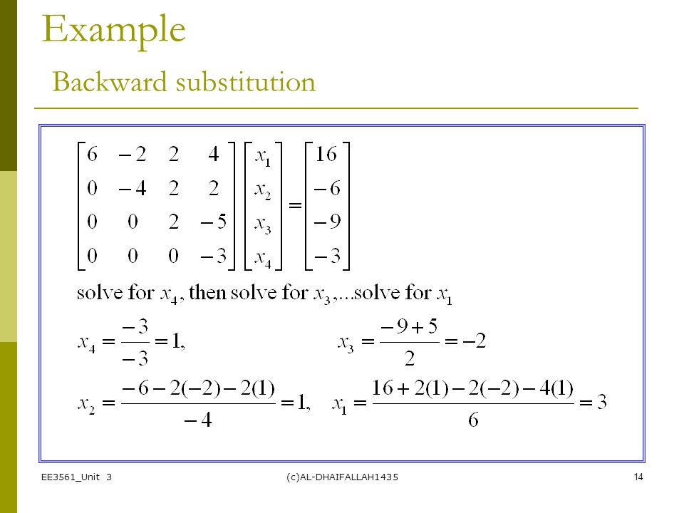 Example Backward substitution
