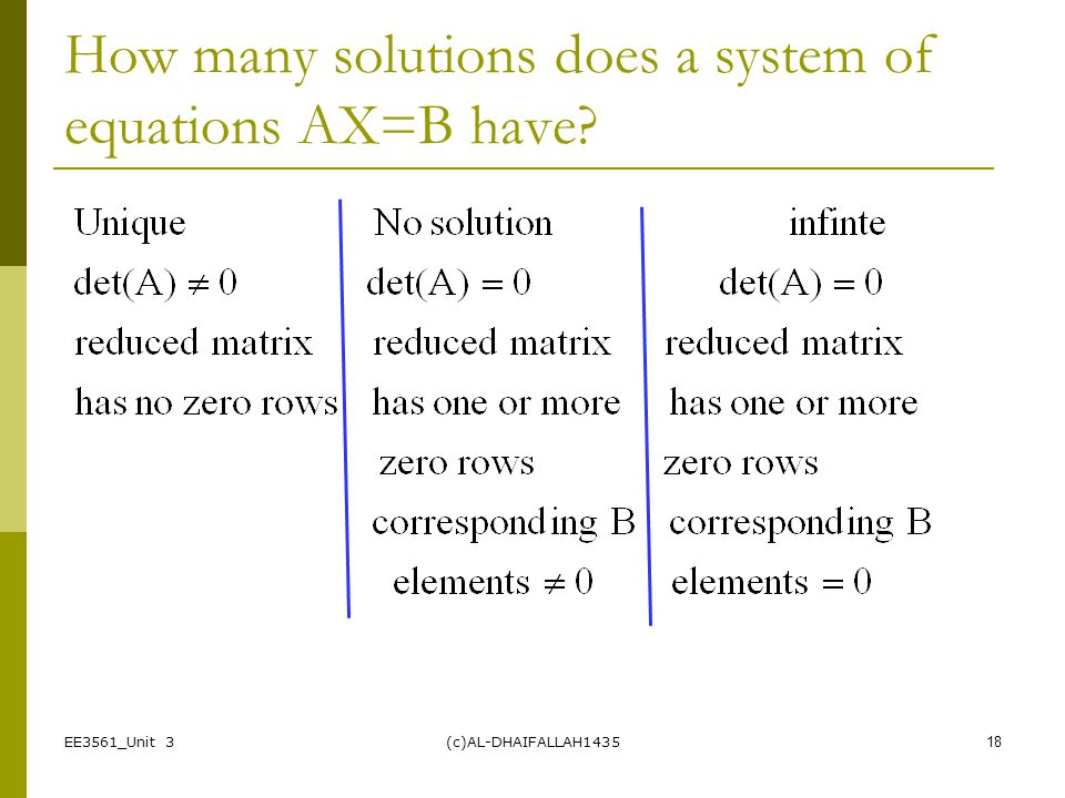 How many solutions does a system of equations AX=B have
