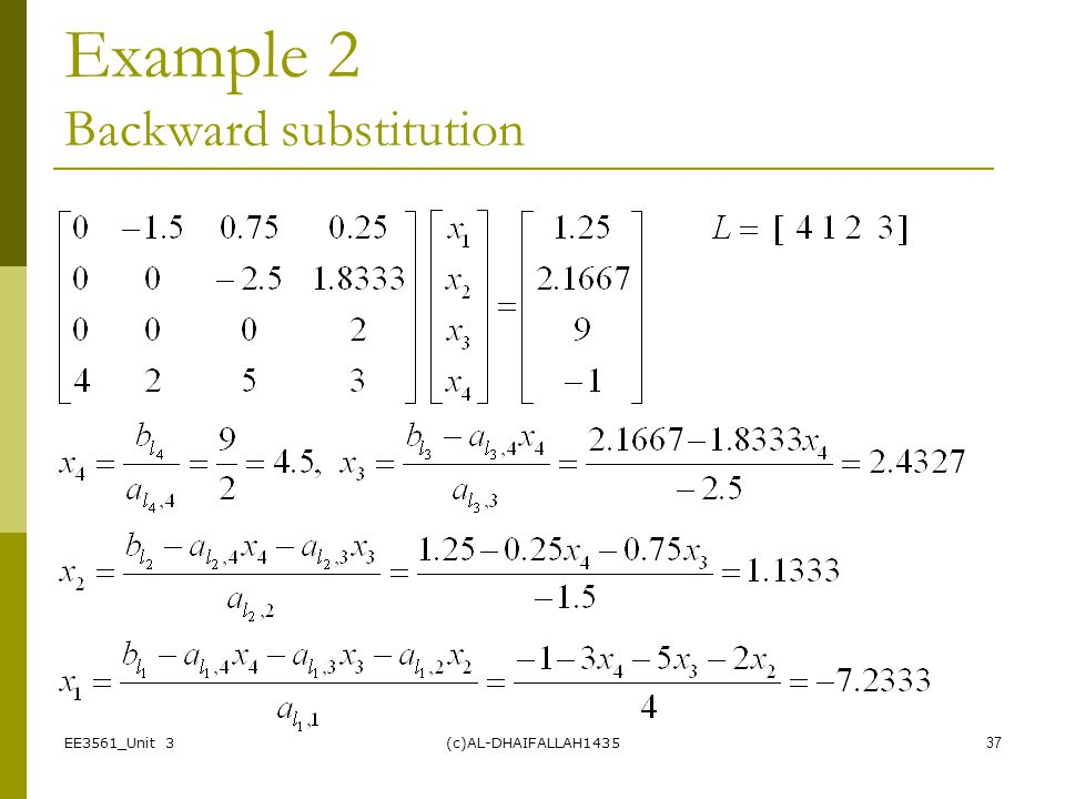 Example 2 Backward substitution