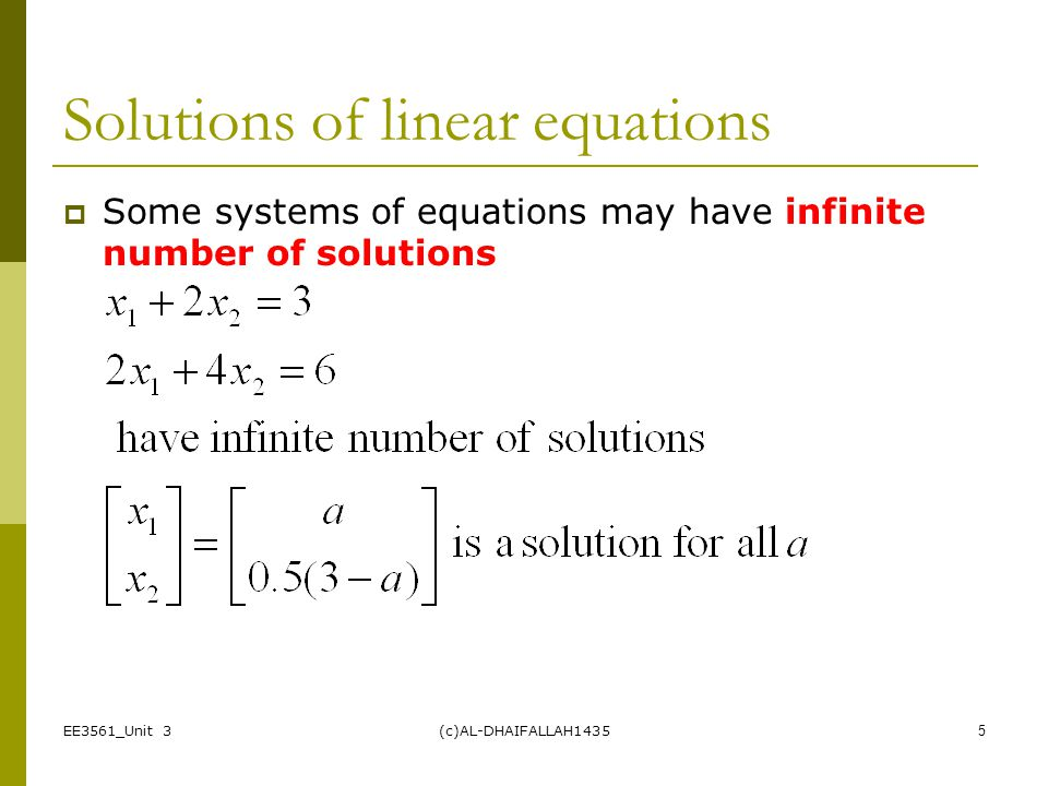 Solutions of linear equations