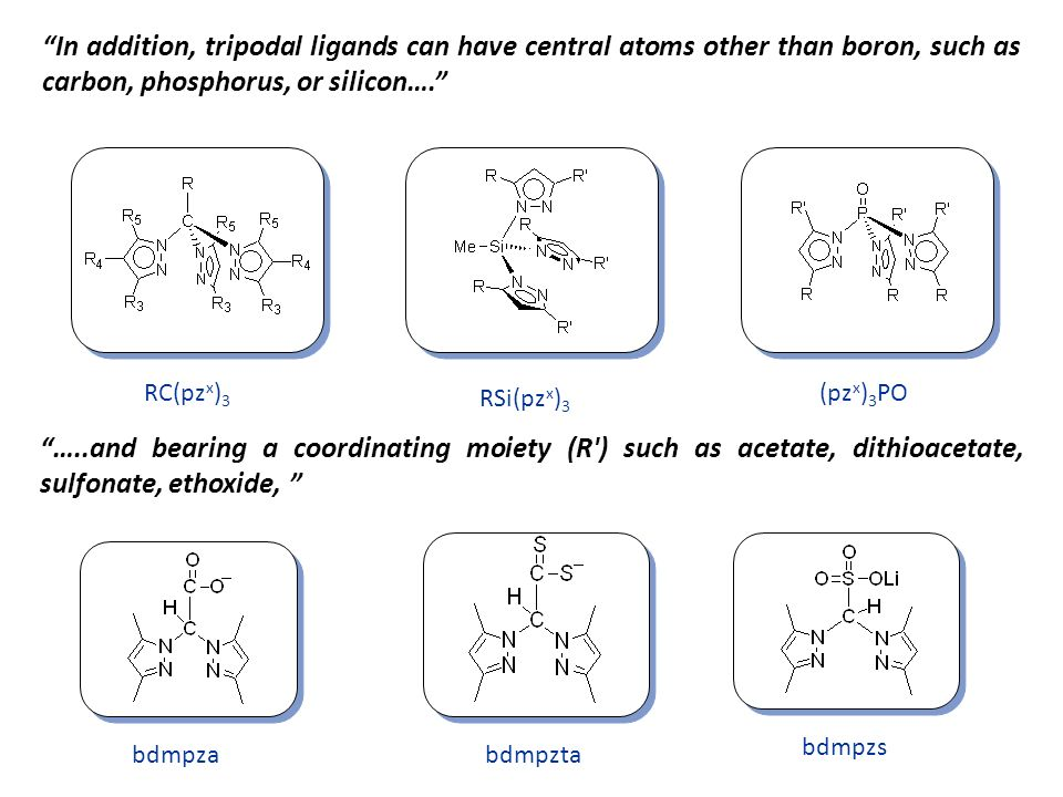In addition, tripodal ligands can have central atoms other than boron, such as carbon, phosphorus, or silicon….