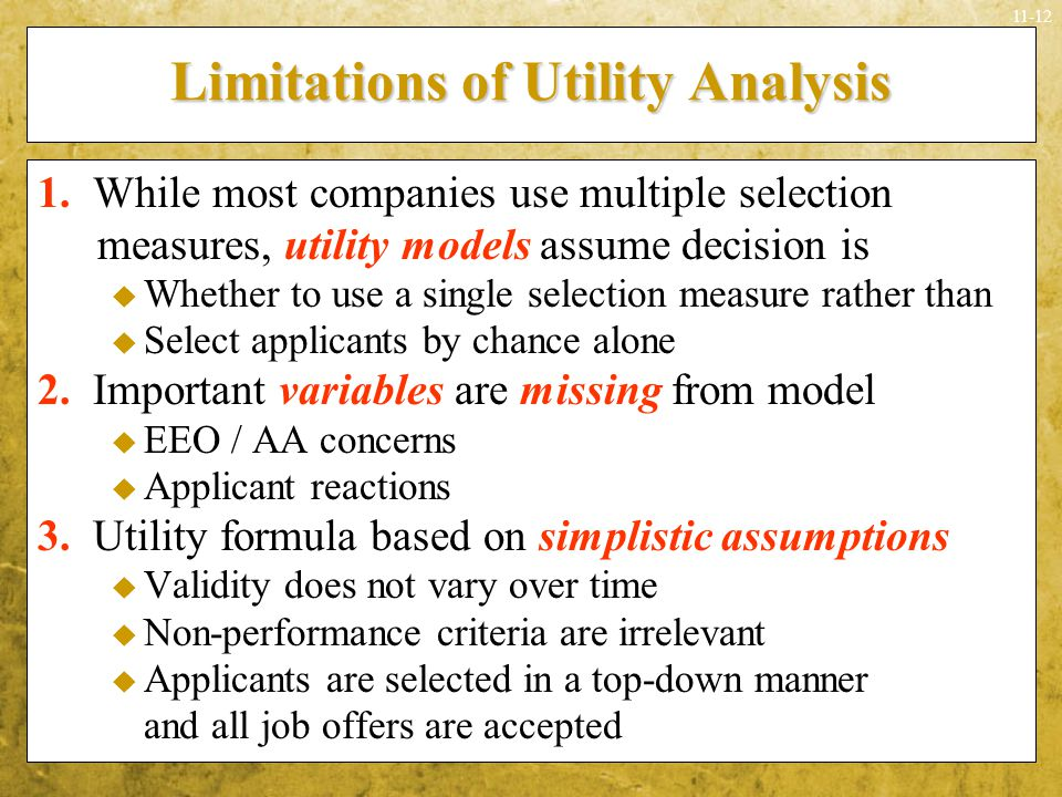 Limitations of Utility Analysis
