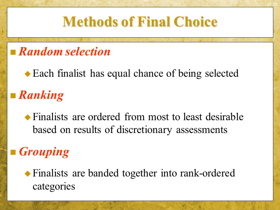 Methods of Final Choice