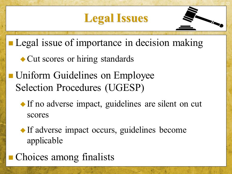 Legal Issues Legal issue of importance in decision making