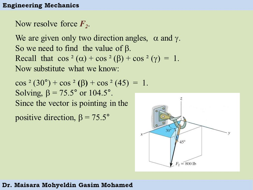Now resolve force F2. We are given only two direction angles,  and . So we need to find the value of .