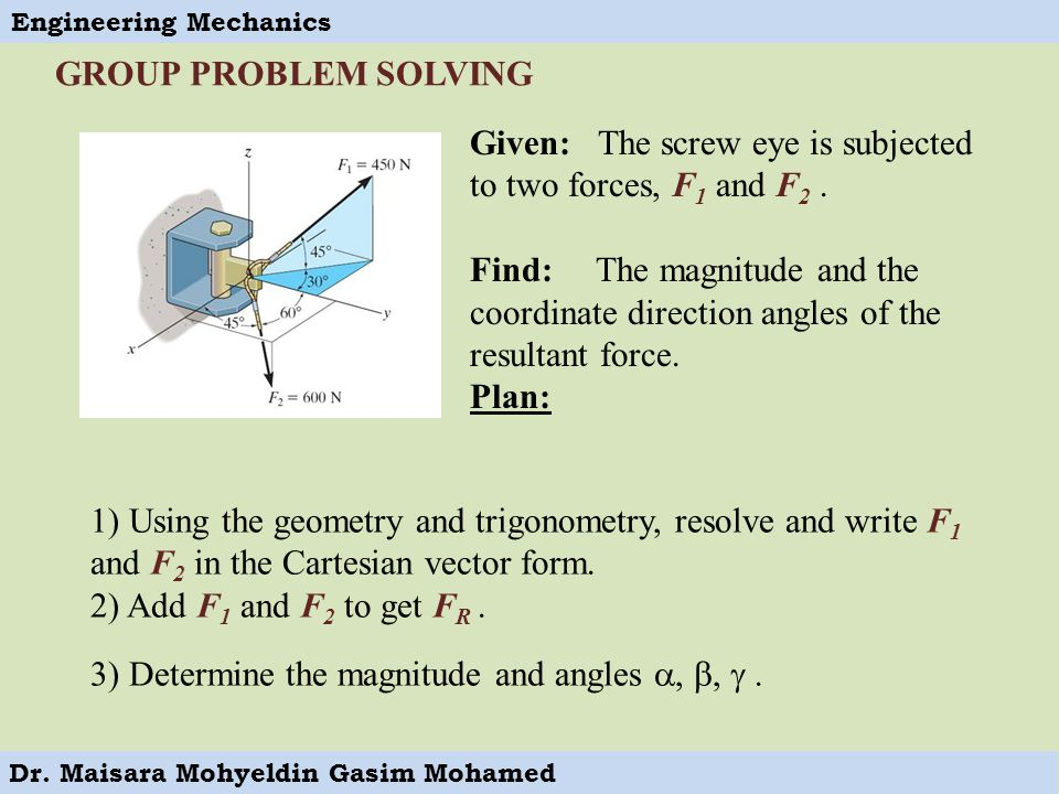 GROUP PROBLEM SOLVING Given: The screw eye is subjected to two forces, F1 and F2 .