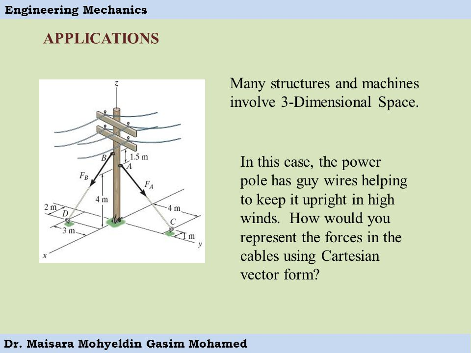 APPLICATIONS Many structures and machines involve 3-Dimensional Space.