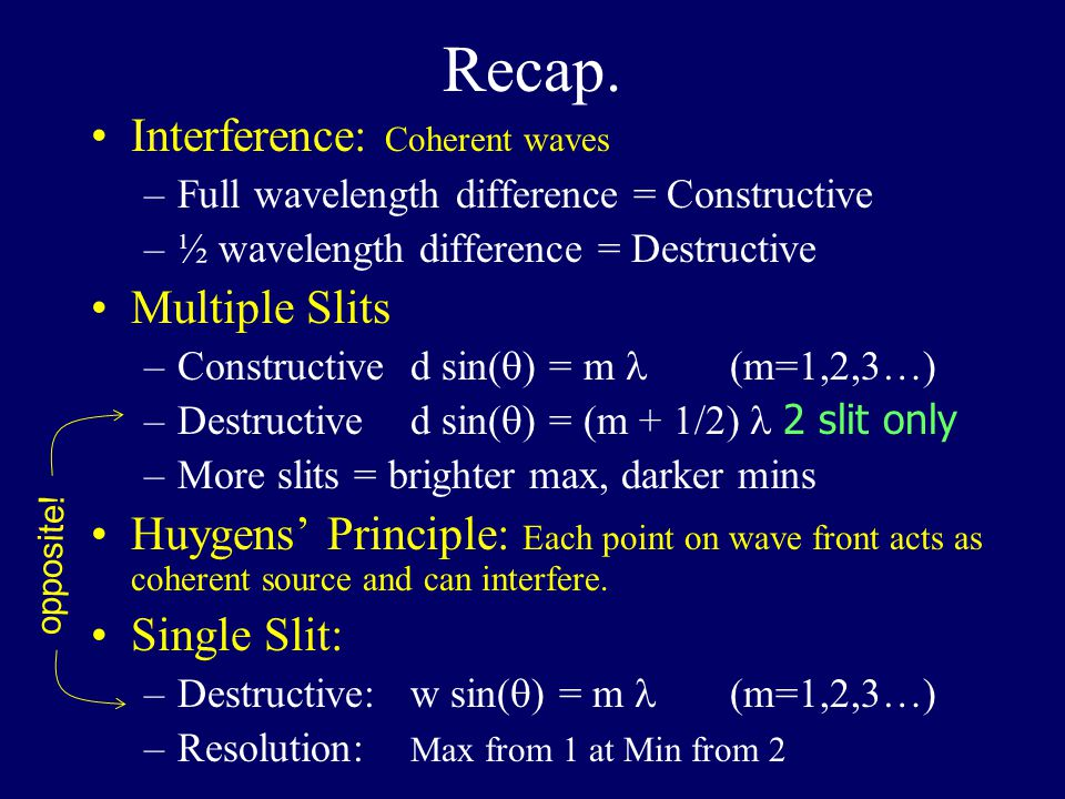 Recap. Interference: Coherent waves Multiple Slits