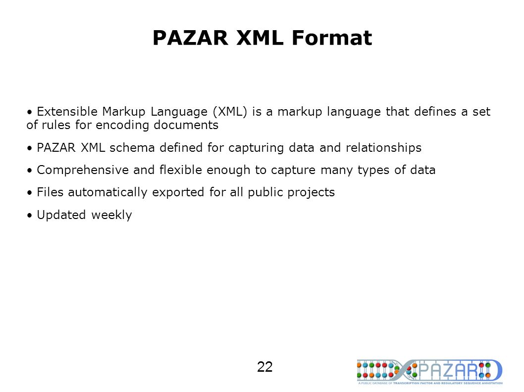 PAZAR XML Format Extensible Markup Language (XML) is a markup language that defines a set of rules for encoding documents.