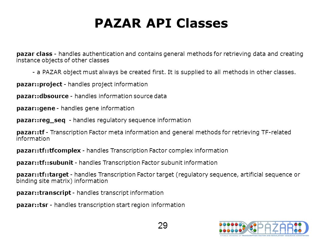 PAZAR API Classes