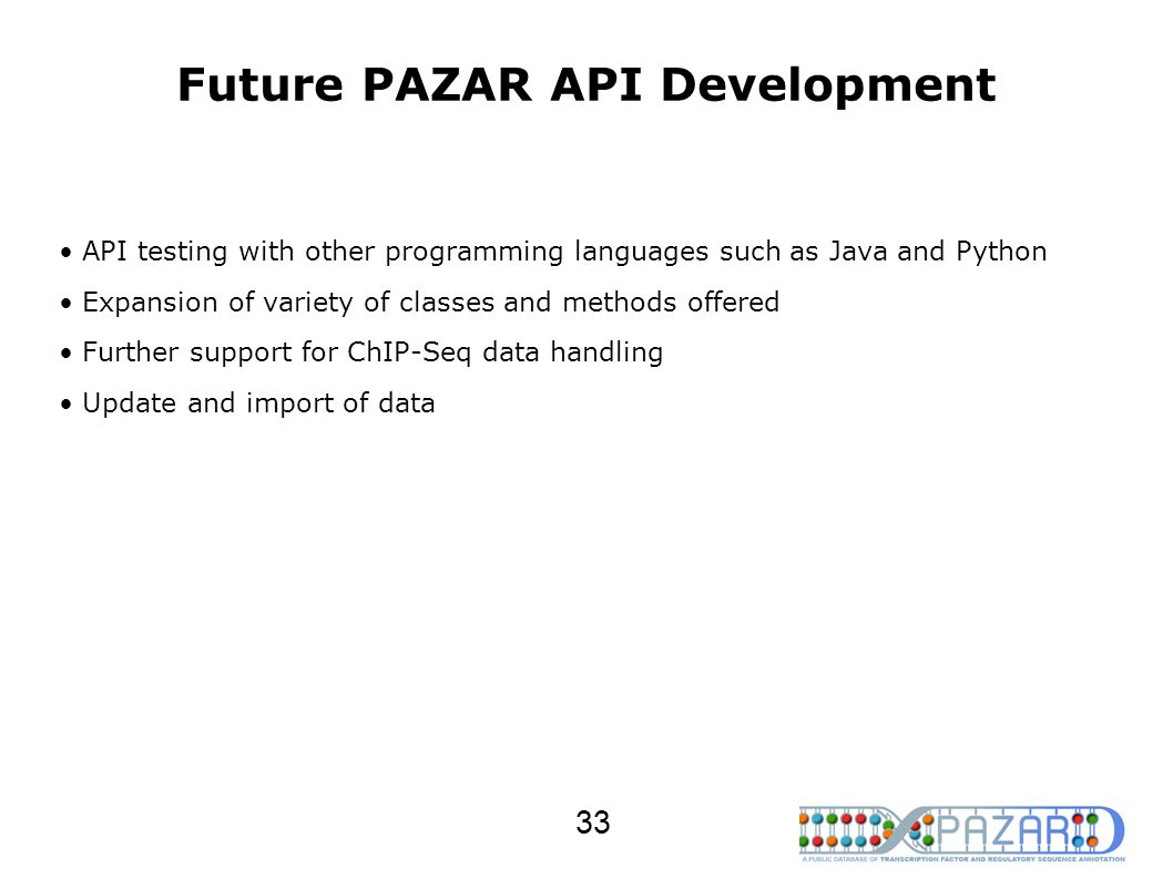 Future PAZAR API Development